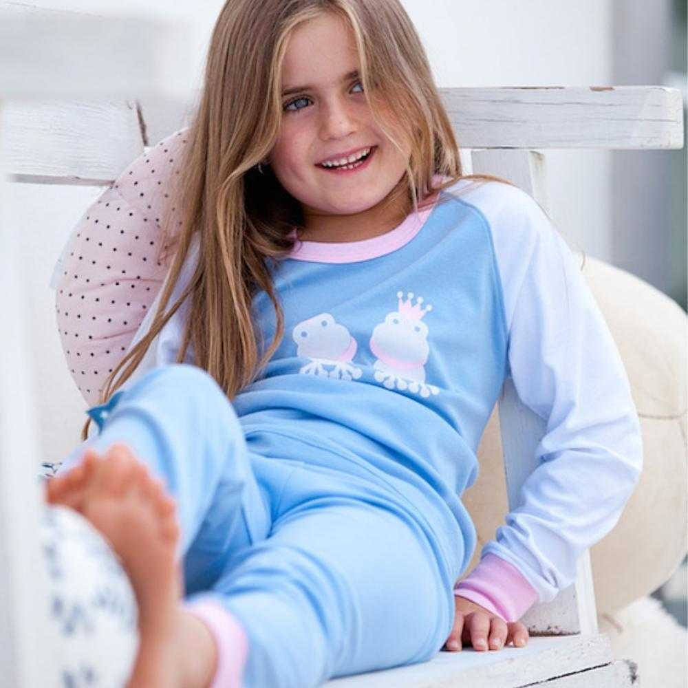 Organic Peruvian Pima Cotton Girls Pajamas: Princess Frog Design - Lilala KIDS