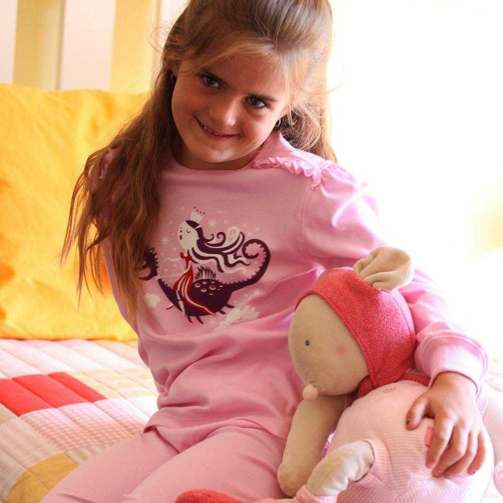 Organic Peruvian Pima Cotton Girls Pajamas: Princess & Her Dragon Design - Lilala KIDS