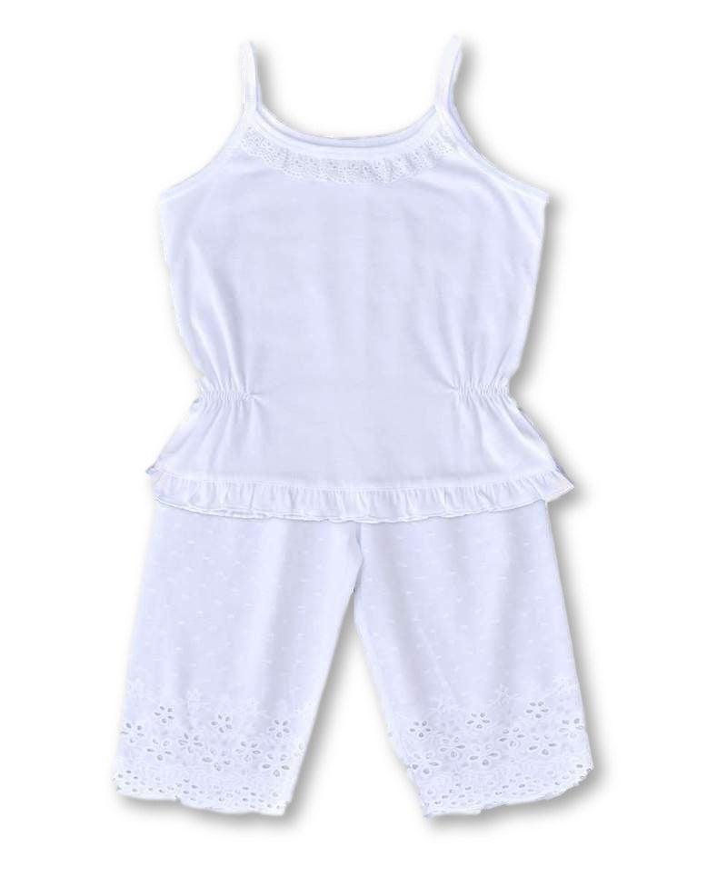 Girls Cotton Pyjama Set - Crisp White