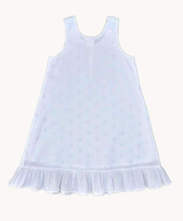 Girls Summer Nightie: Silver Sparkle Cotton Design