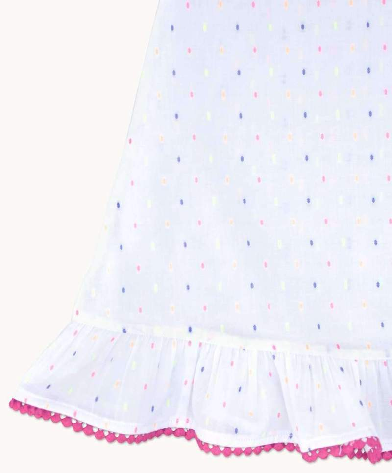 Girls Cotton Nightdress Polka Dot design hemline