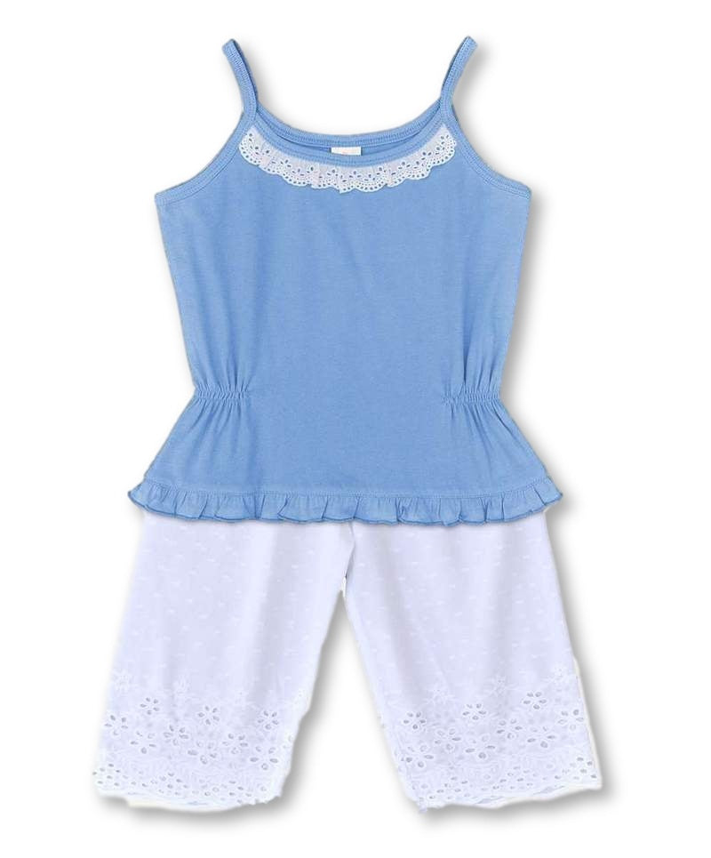 Girls Cotton Pyjama Set: Blue & White Pretty Lace Design