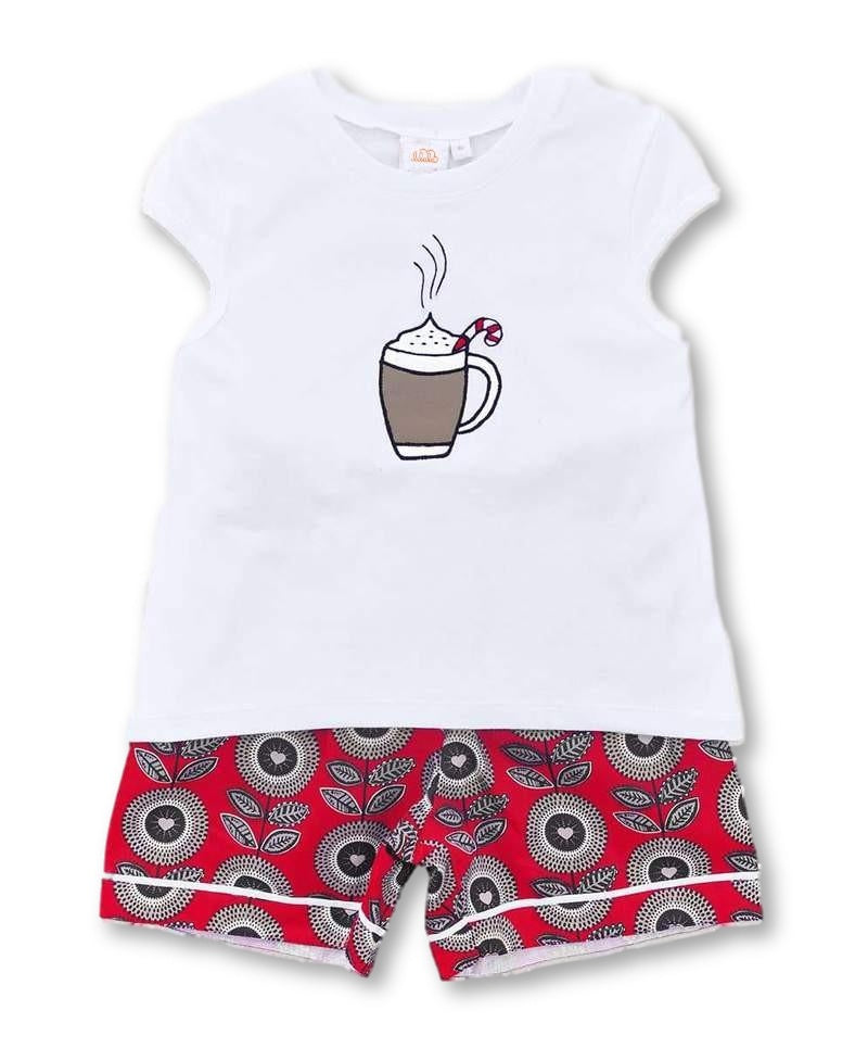 girls short pajama set hot chocolate design