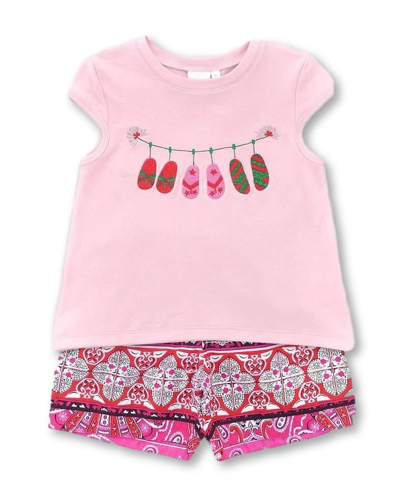 girls summer pajama set pink flip flop design