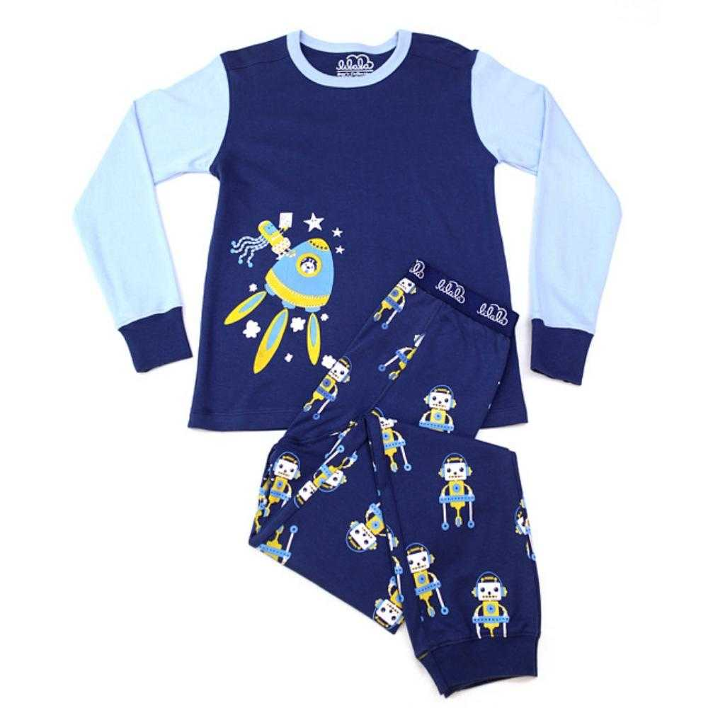 Organic Peruvian Pima Cotton Robot Pajamas: Robots In Space Design - Lilala KIDS