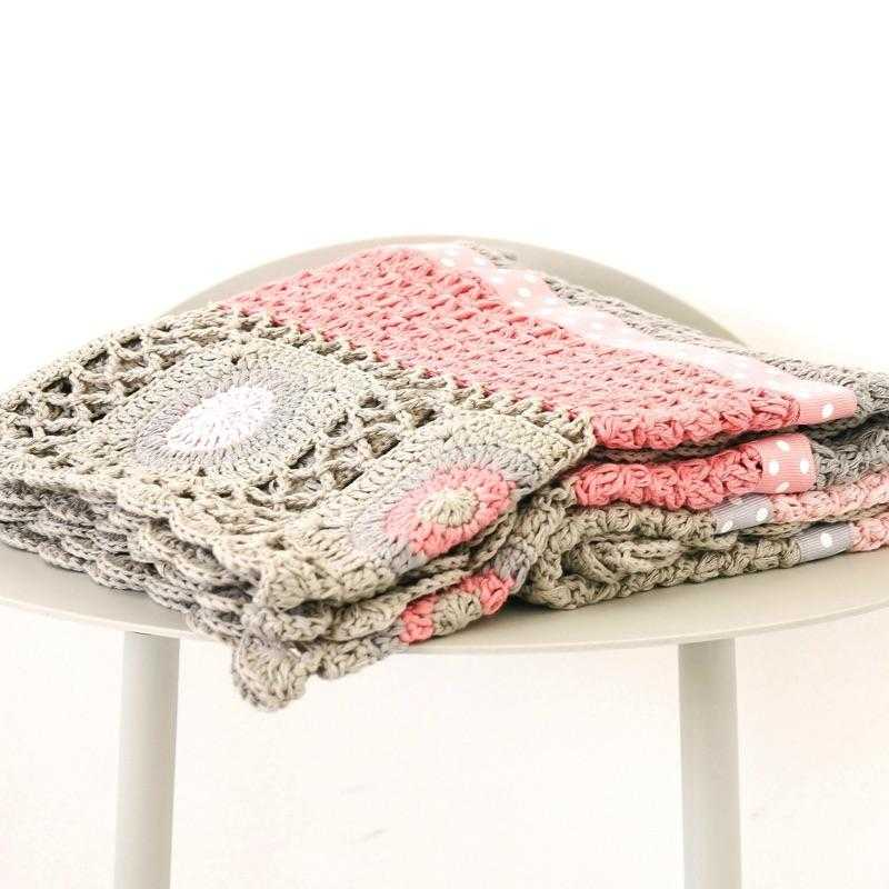 100% Cotton Hand Crocheted Blanket Dusty Pink - Lilala KIDS