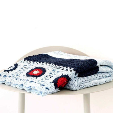 100% Cotton Hand Crocheted Blanket Navy Blue