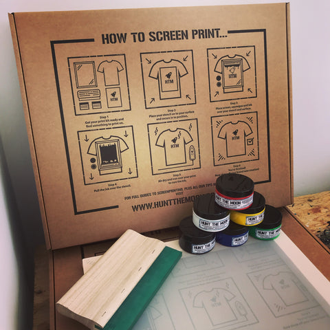 A4 screen printing kit with six inks and squeegee