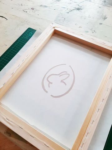 Stencil on screen printing frame