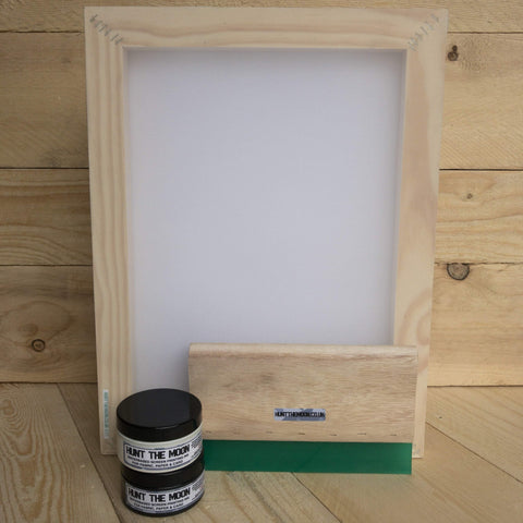 Hunt The Moon Silk Screen Printing Value Pack Frame, 2x 100ml Inks & Squeegee - Hunt The Moon - Screen Printing Supplies Shop