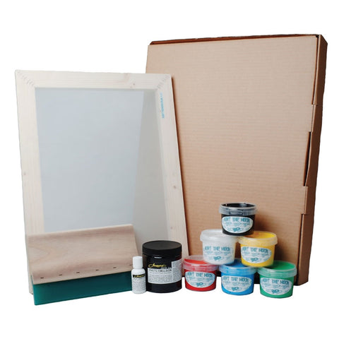Hunt The Moon Super Deluxe Screen Printing Kit - Photo Emulsion, 77t Mesh + Transparencies