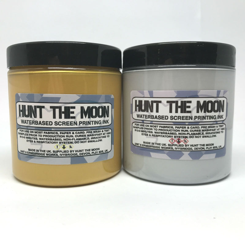 Hunt The Moon - Metallic Water Based Screen Printing Ink - Gold and Silver - Starter Twin Pack - Hunt The Moon - Screen Printing Supplies Shop