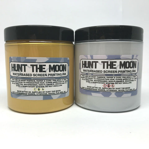 Hunt The Moon - Metallic Water Based Screen Printing Ink - Gold and Silver - Starter Twin Pack