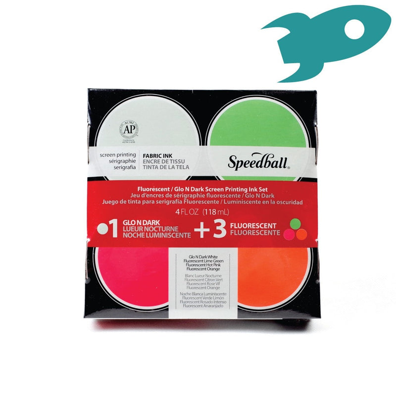 Speedball - Fabric Screenprinting Inks - Glo N Dark / Fluorescent - Hunt The Moon - Screen Printing Supplies Shop