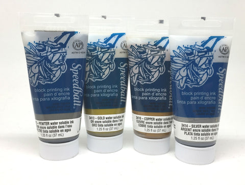 Speedball Water Soluble Metallic Block Printing Ink Set