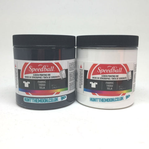 Speedball - Black and White Waterbased Textile Ink - Twin Pack - 236ml - Hunt The Moon - Screen Printing Supplies Shop