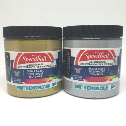 Speedball Opaque Gold and Silver Waterbased dark Fabric Textile Ink Twin Pack 236ml