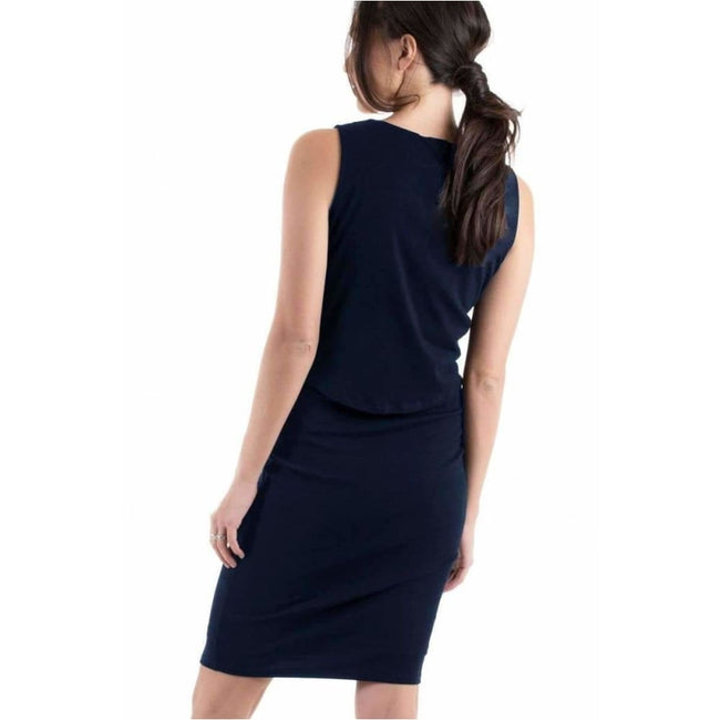 ,Bodycon Sleeveless Nursing Dress - Navy,Elle J