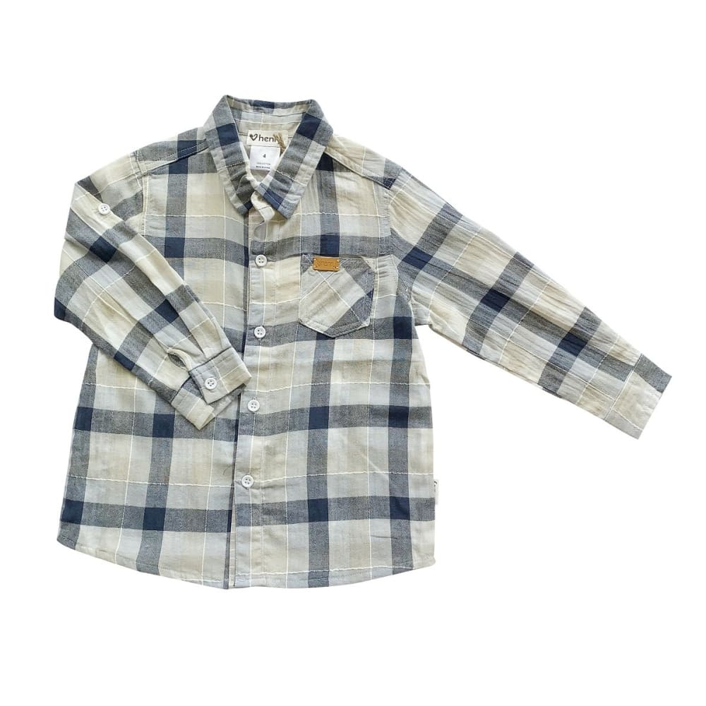 Boys Dress Shirt | Blue / Taupe Check - Love Henry