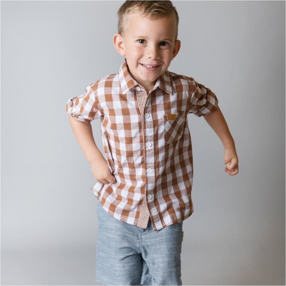 Boys Dress Shirt | Bronze Check - Love Henry