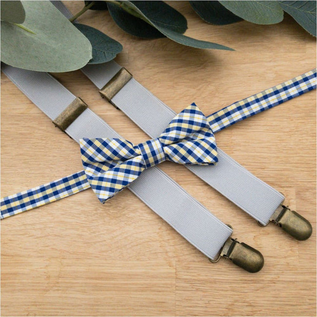 Flynny Bow Tie in Yellow and Navy Check - Flynny + Mitch
