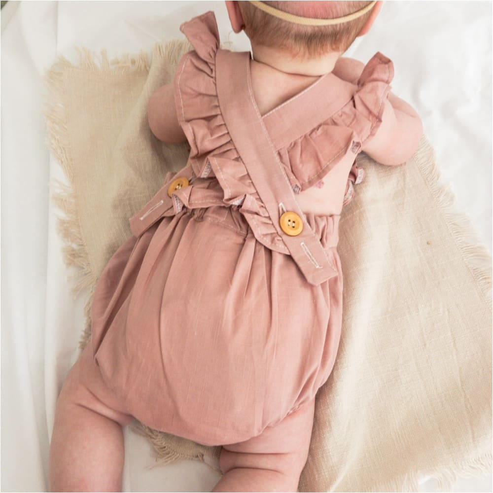 Lace Flutter Sleeve Embroidered Crossback Romper DUSTY PINK