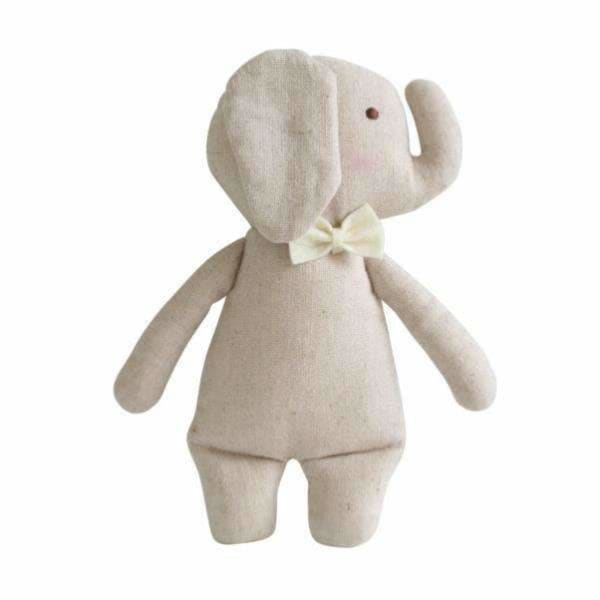 Alimrose Designs,Linen Mini Rattle - Elephant,Elle J
