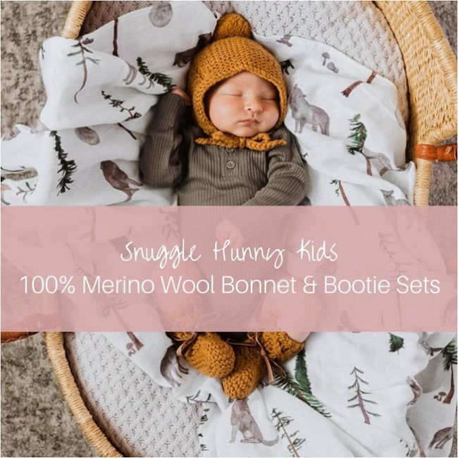 Merino Wool Bonnet & Bootie Set - Snuggle Hunny Kids