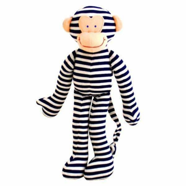 Alimrose Designs,Monkey Rattle Navy Stripe,Elle J