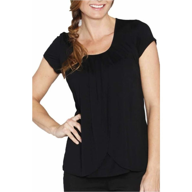 ,Petal Front Short Sleeve Breastfeeding Top in Black,Elle J
