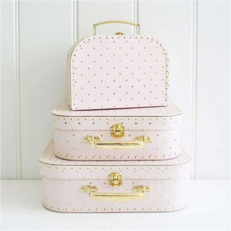 Pink with Gold Spot Suitcases - Alimrose Designs