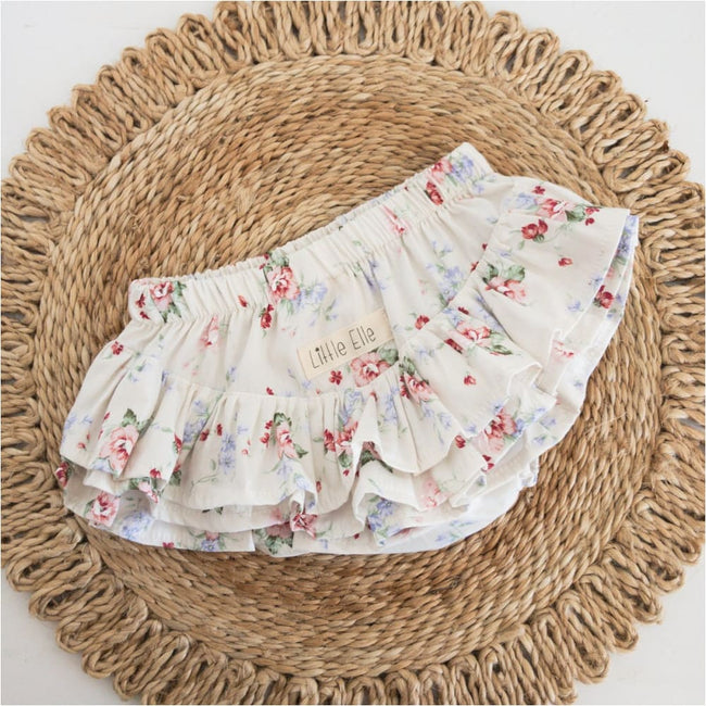 Ruffle Nappy Cover | CREAM FLORAL - Little Elle