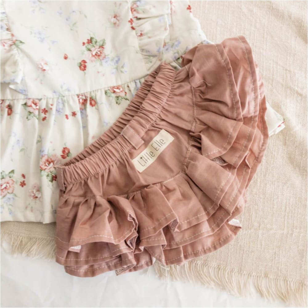 Ruffle Nappy Cover | Dusty Pink - Little Elle