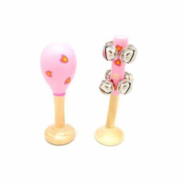 Small Heart Maraca and Bell Stick Set - Eleganter