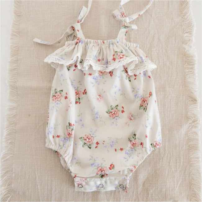 Tilly Playsuit | Cream Floral - Little Elle