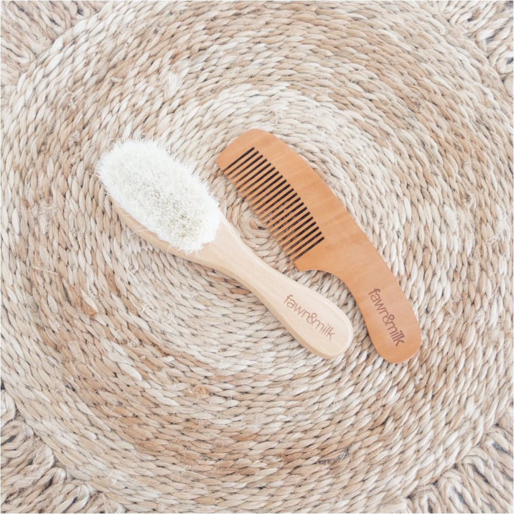 Wooden Baby Brush + Comb Set - Fawn + Milk