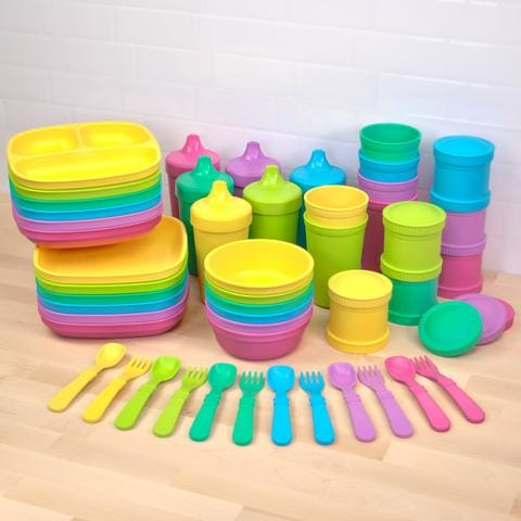 Re Play Recycled Children's Dinnerware Rainbow Collection