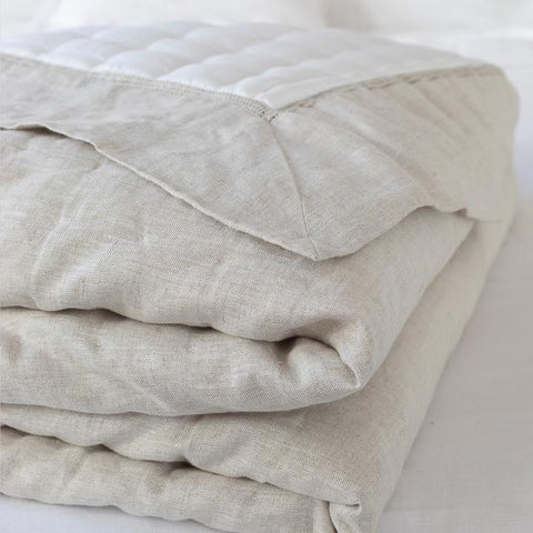 Sublime Quilt  | Natural Linen & White Silk | King