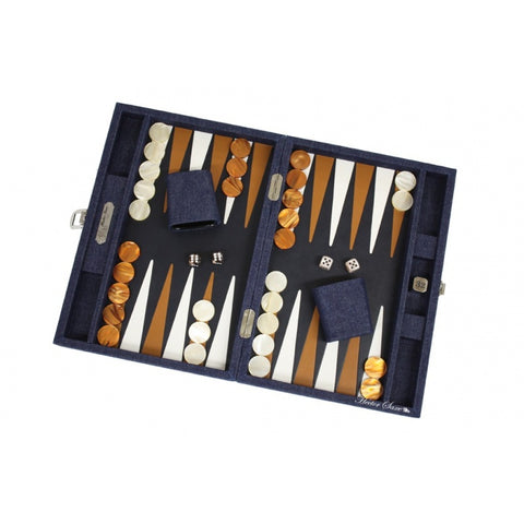 Leather & Denim Backgammon | Medium Size