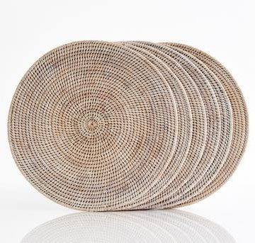 Round Placemat | Rattan | White Wash