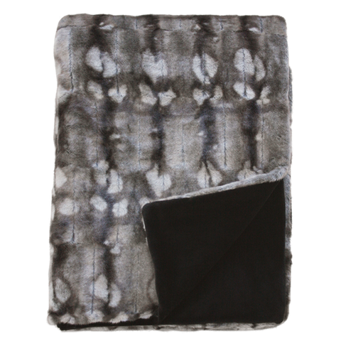 Heirloom Faux Fur Throw | Mottled Squirrel Grey