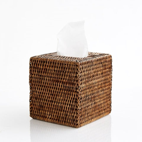 Square Tissue Box Holder | Rattan | Antique