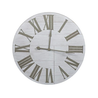 Large Timber Clock with Grey Hands