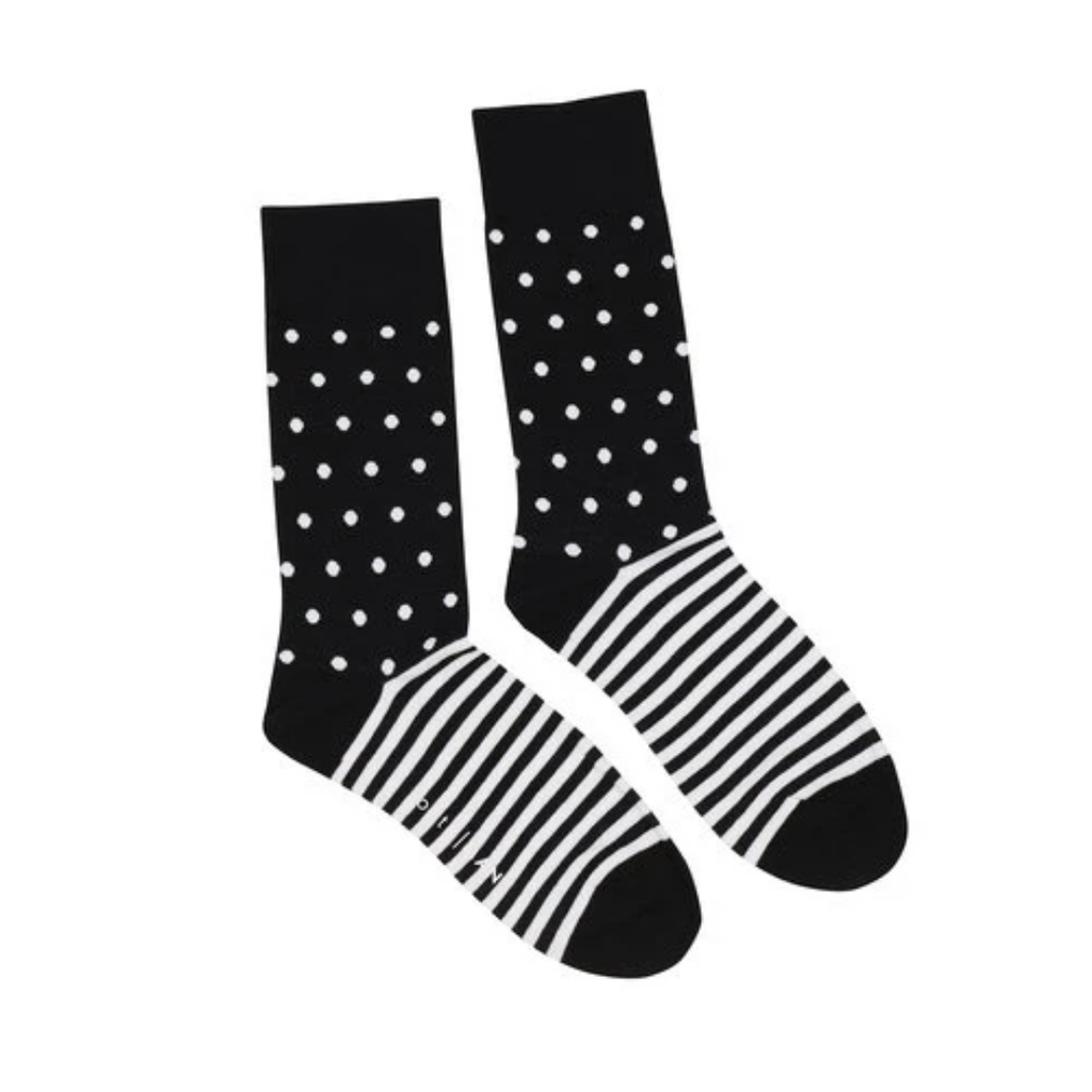 Black White Striped Polka Socks