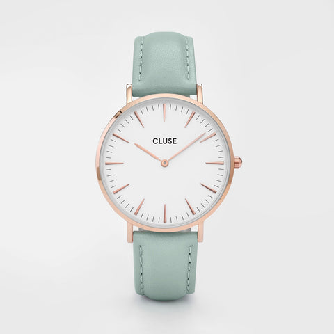 La Boheme Cluse Watch | Rose Gold & Pastel Mint Strap