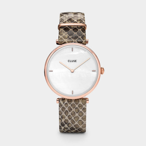 Triomphe Cluse Watch | Rose Gold White Pearl/Soft Almond Python