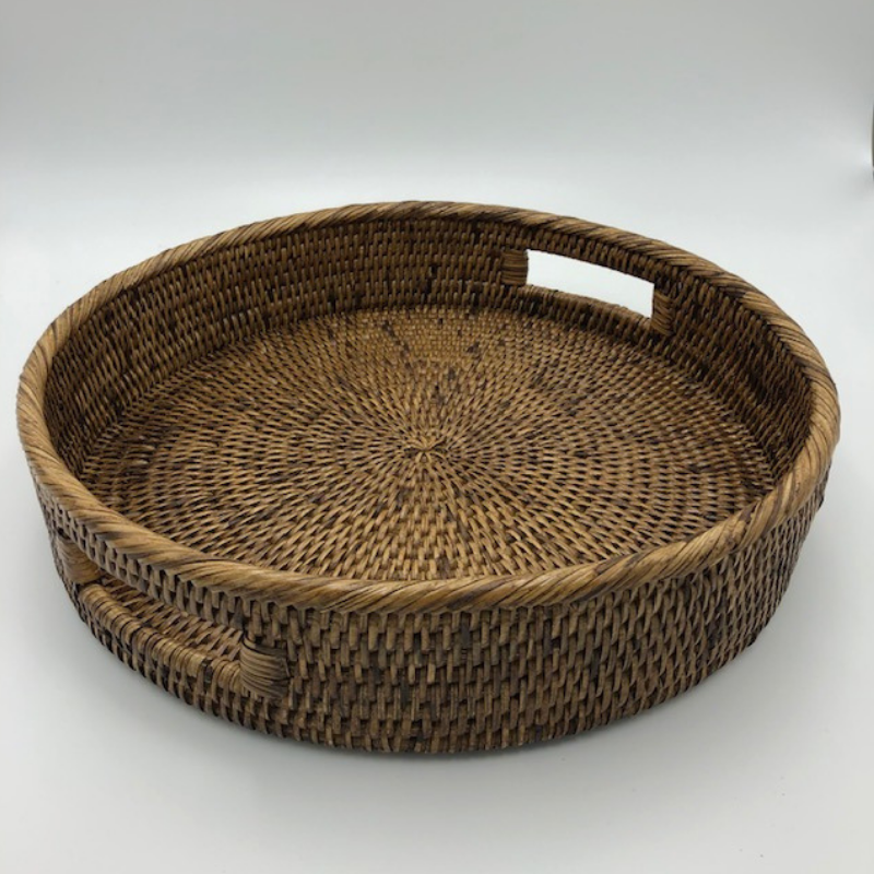 Rattan Round with inside handles | Antique