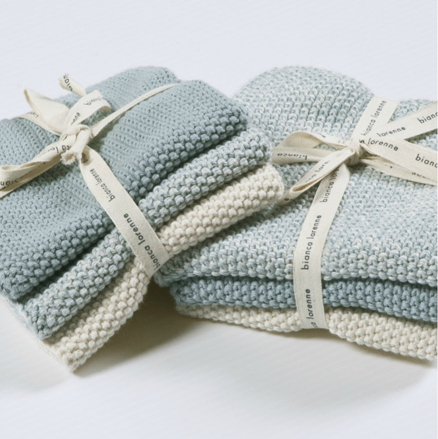 Lavette Face Cloths | Set of 3 | Duck Egg Blue