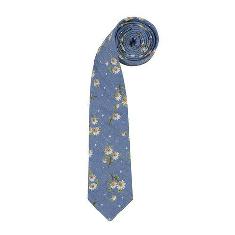 Chambray Flowers Tie