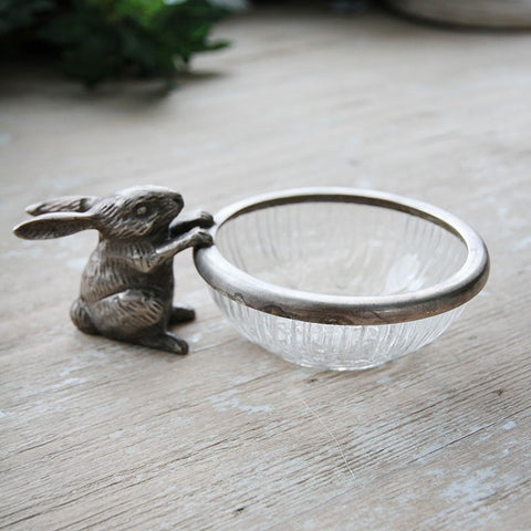 Rabbit & Glass Bowl | Aged Silver